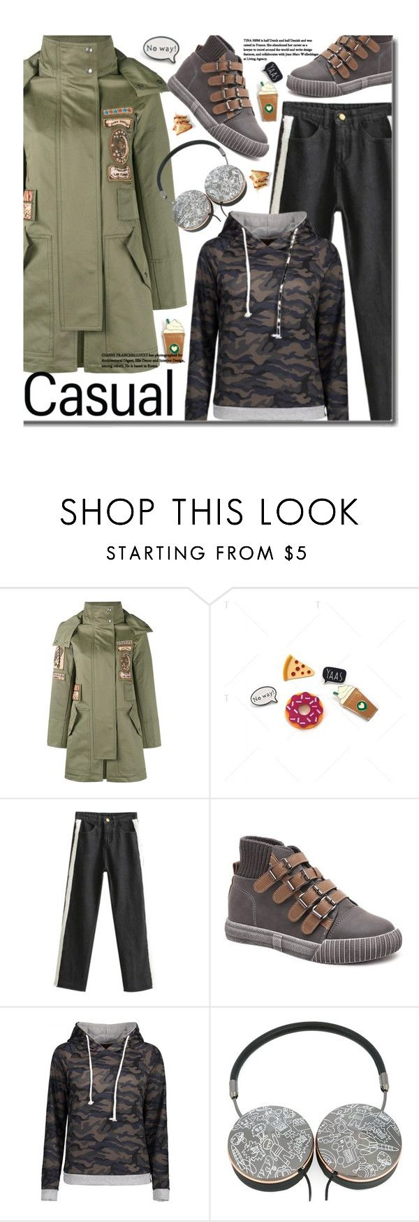 """""""Casual: Camo Hoodie"""" by beebeely-look ❤ liked on Polyvore featuring Valentino, Mira Mikati, vintage, casual, camo, pins, camostyle and twinkledeals"""