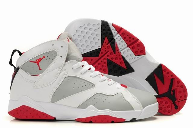 grey and red jordan shoes