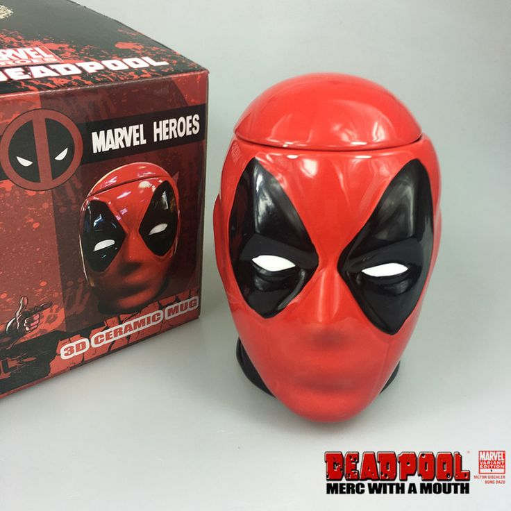 2016 new marvel heroes deadpool 3D ceramic mug and milk cup cool novelty water bottle with lid great gift for christmas