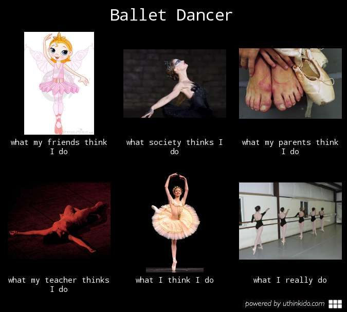 Ballet dancer, What people think I do, What I really do meme image - uthinkido.com