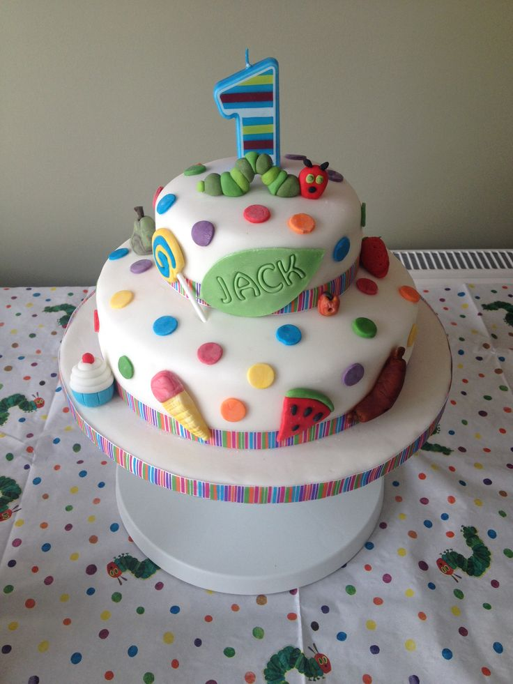 A Very hungry caterpillar birthday cake for my son's first birthday