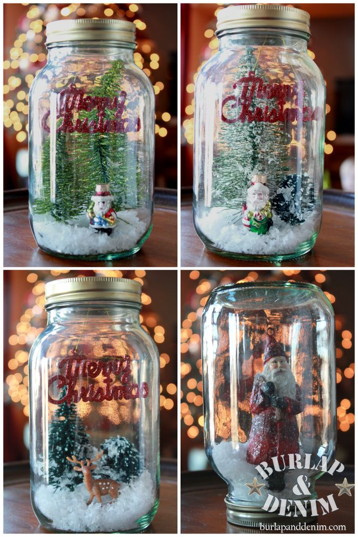 Diy mason jar snow globe snow globes pinterest jars for Christmas glass jar decorations