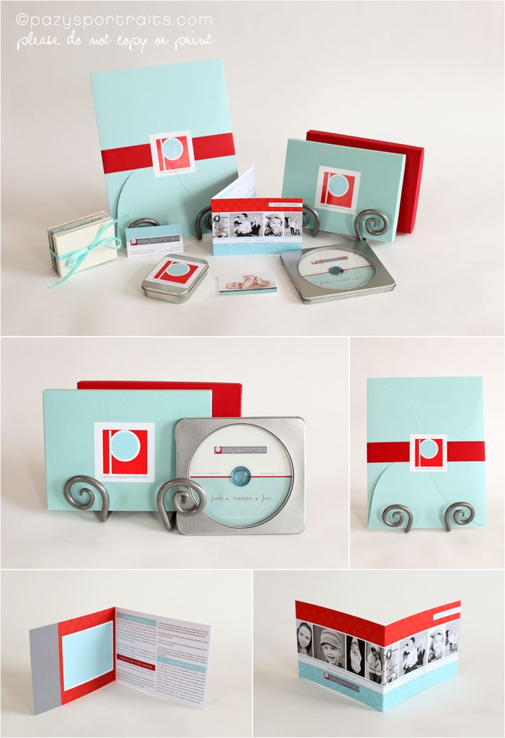 red and teal photography packaging