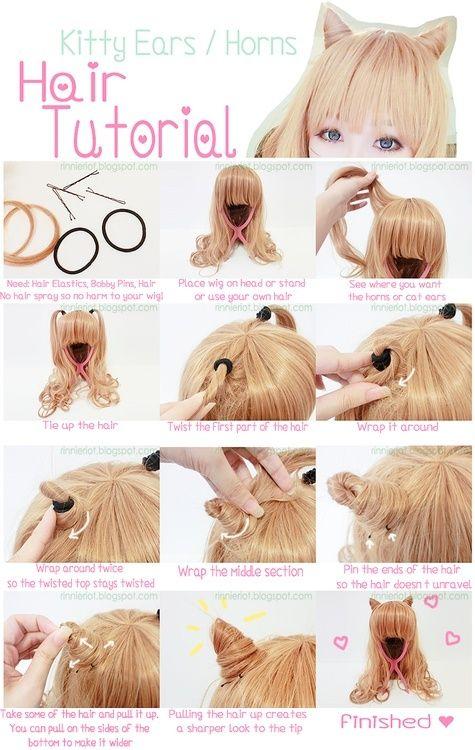 Sweet lolita/japan fashion/kawaii / Kitty ears/Horns hair tutorial
