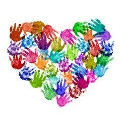 A colorful handprint heart for Valentine's Day. Could be fun for a class activity.