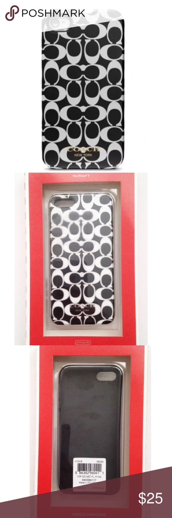 """NWT iPhone 5 Apple Coach Monogram Phone Case Brand New With Box Coach monogram """"C"""" Snap On Case Size: Fits Apple Iphone 5 This hard shell designer plastic phone case will spice up your Iphone. The background color is black with the signature white """"C"""" repeat pattern. The """"C""""s are outlined with silver. Retail: $38.00 USD  Material Content: Plastic Coach Accessories Phone Cases"""
