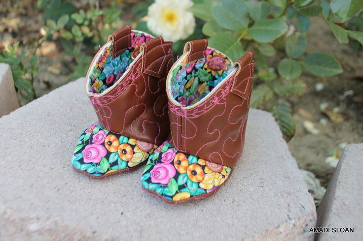 Baby Boho Boots Western Vegan Cowboy Cowgirl Booties Infant Shoes  Rodeo Sweetheart Photo Prop Little Kickers for Babies by Amadi Sloan by AmadiSloanDesigns on Etsy