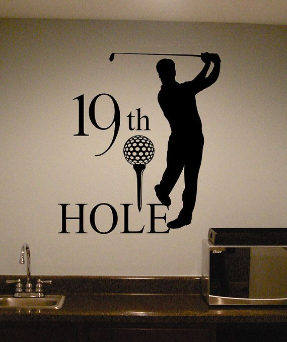 "For the ""man cave""!! Vinyl Wall Lettering Golf Theme 19th Hole Sports Large Home Wet Bar Decal"
