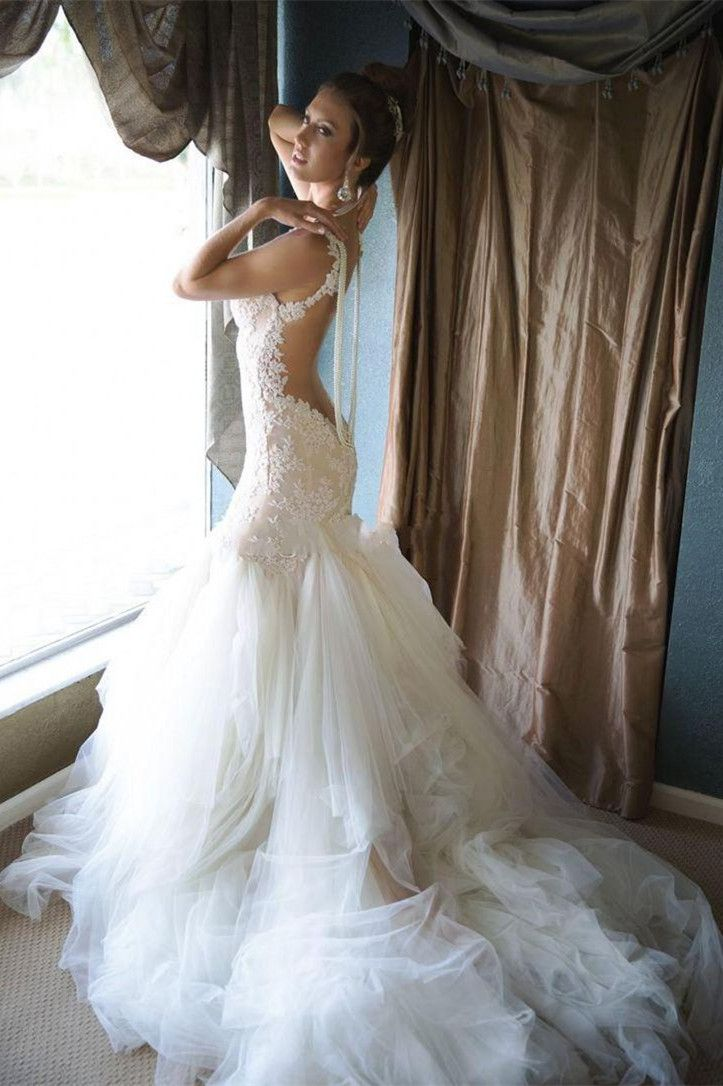 Gorgeous Backless Tulle Mermaid Pearls Wedding Dress from www.27dress.com