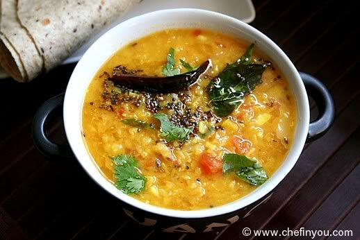 Indian Red Lentils recipe - this tastes just like the dahl my grandma makes!  My only variation was that I omitted  the tomatoes