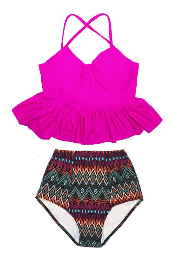 fd0c1d086d025 Hot Pink Peplum Tankini Top and Tribute Highwaisted High Waisted Waist High-Waist  High-waisted Bottom Swimsuit Bikini Bathing suit S M L XL by Venderstore ...