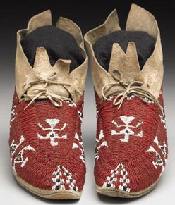 Cheyenne beaded hide moccasins with thunderbird design, from http://www.prices4antiques.com/native-american/moccasins-leggings/Moccasins-Cheyenne-Beaded-Hide-Thunderbird-Design-10-inch-D9845280.htm