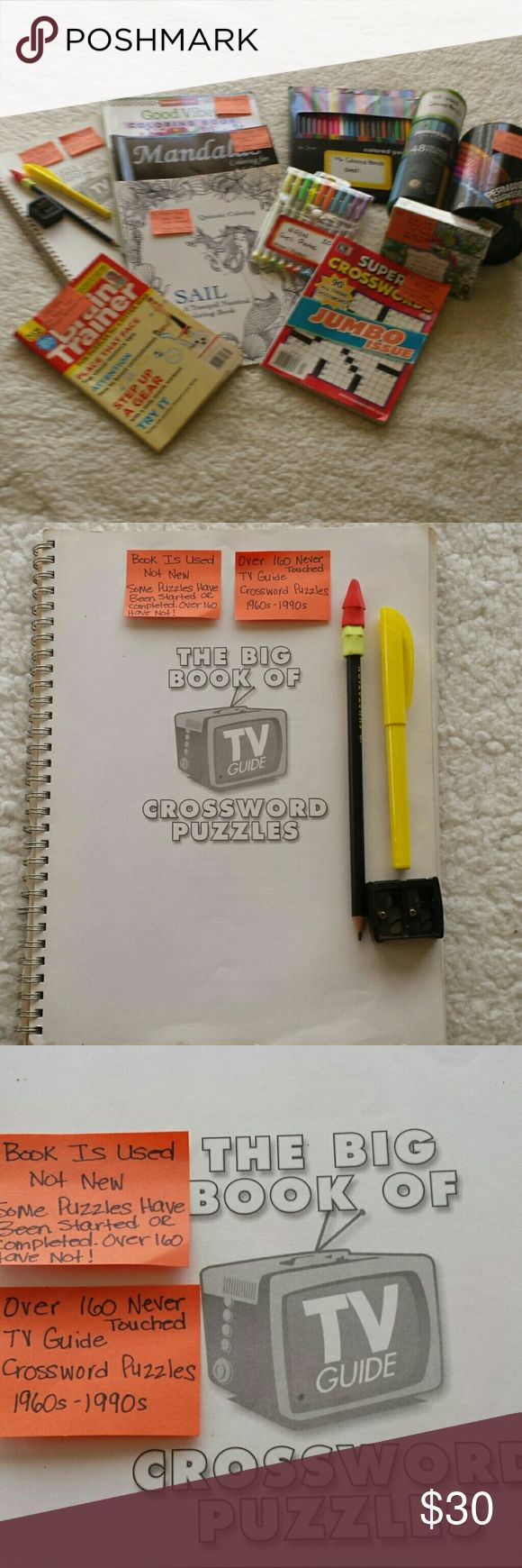 """Adult Coloring & Puzzle Books, Colored Pencils Etc Used TV Guide Crossword Puzzles from 1960s-1990s. Some completed. Over 160 haven't been touched. 3 Adult Coloring Books: Sail Tranquil Nautical w/27 uncolored pages, Mandalas w/37 uncolored pages, Good Vibes w/22 uncolored pages. Box 48 Used Colored Pencils, 17 New Permanent Markers, Set 46 Used Colored Pencils, 10 used working Gel Pens, 44 New In Box """"God's Love"""" Coloring Cards. Brain Trainer Puzzles Book, & 89 Crossword Puzzles Book…"""