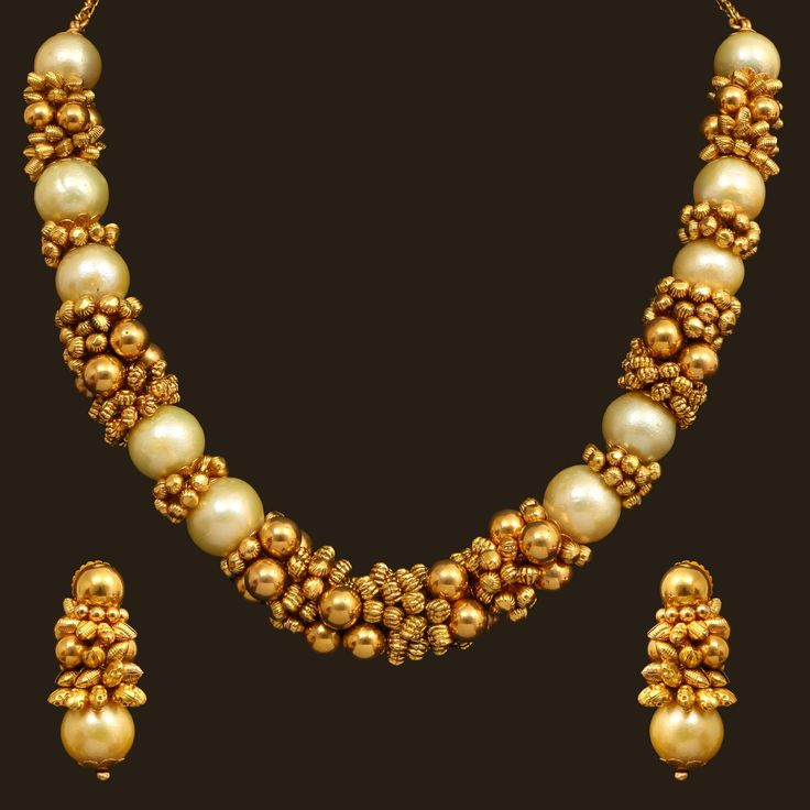 Top 25 Indian Antique Jewellery Designs For Women: Pearl Necklace Set (110A14509/108A37752)