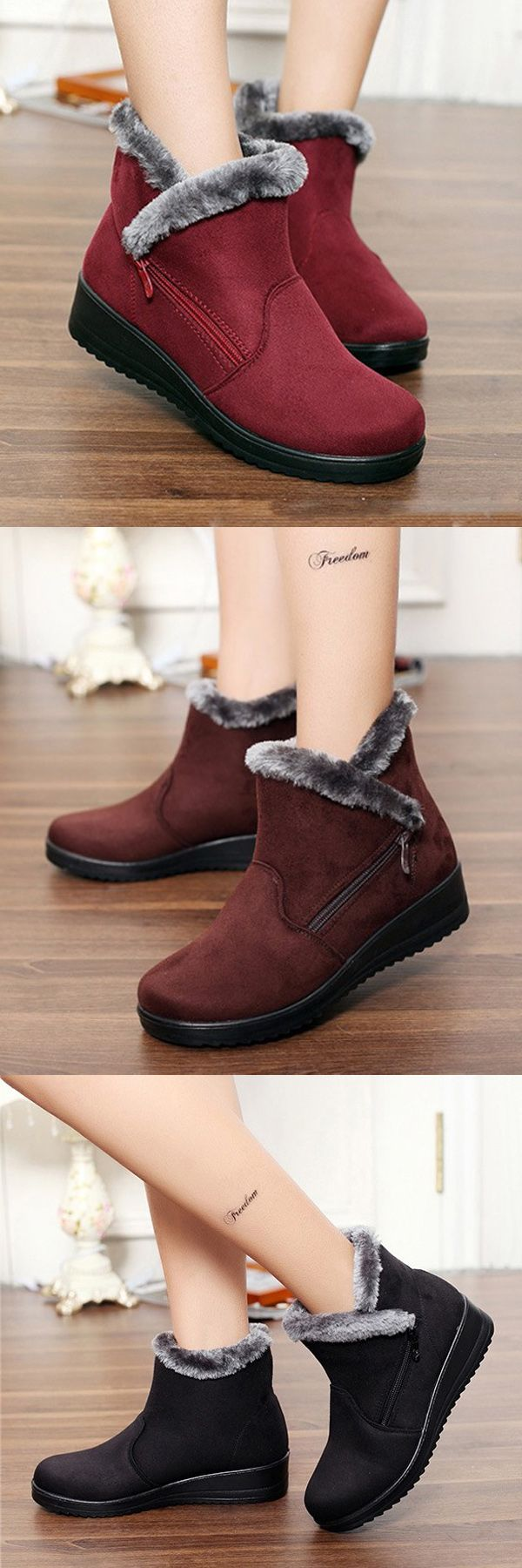 US$17.03  Winter Zipper Wedge Heel Keep Warm Ankle Snow Boots For Women