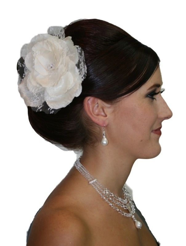 Handmade silk and lace flower hair piece, finished in swarovski crystals.  www.redki.com.au  Hair by Ultimate Bridal, Hair piece by Redki Wearable Art.