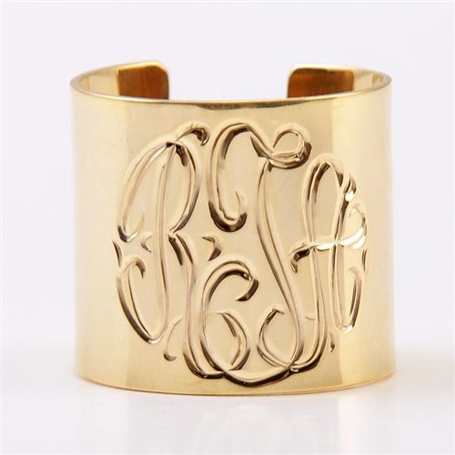 Monogram Gold Plate Cuff from Monogram LaneCuffs Bracelets, Style, Gold Cuffs, Monograms Cuffs, Monograms Gold, Southern Charm, Cuff Bracelets, Jewelry Rings, Cuffs Rings