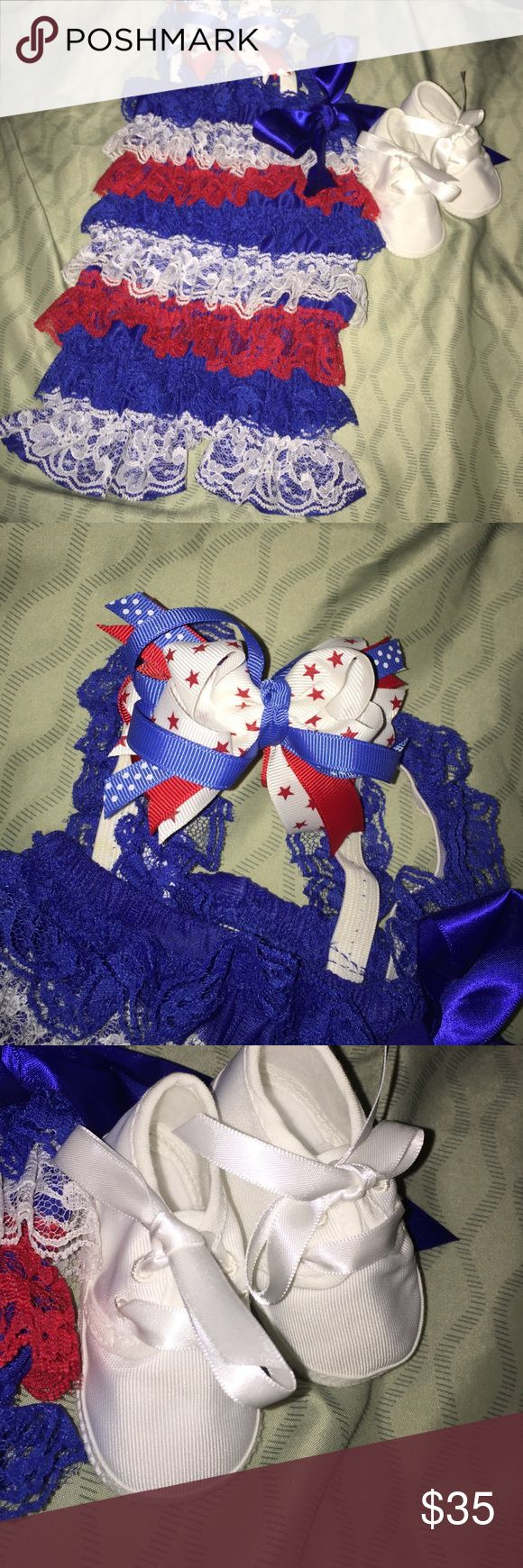 Newborn patriotic outfit Newborn patriotic outfit comes with lace romper, bow and white shoes Other
