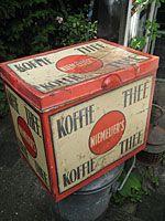 Koffie en thee blik  Rond 1930 in goede en orginele staat (Niemeijer Groningen)