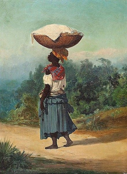 Alfred Boisseau (1823-1901) - Woman with a Basket on her Head in a Tropical Landscape