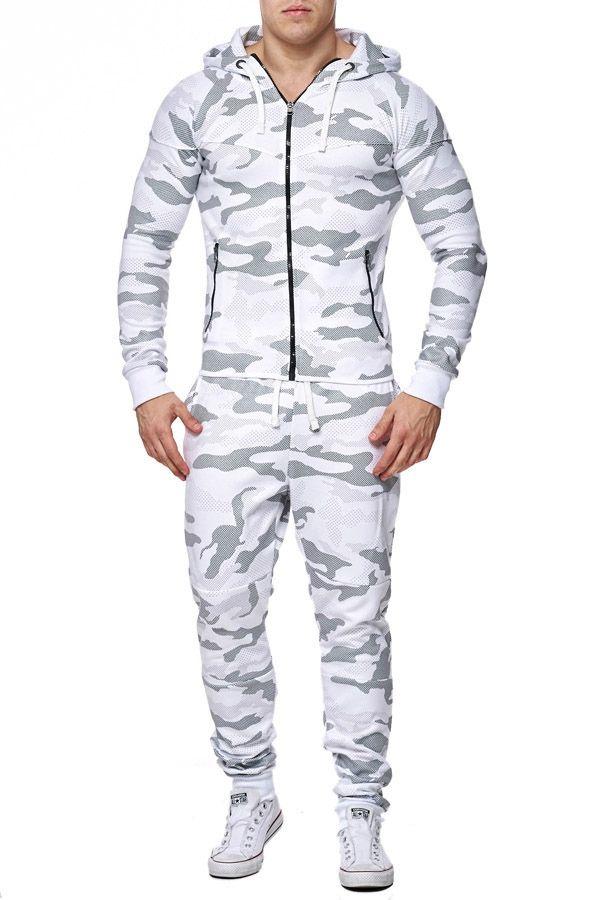 ensemble jogging homme camouflage blanc 658