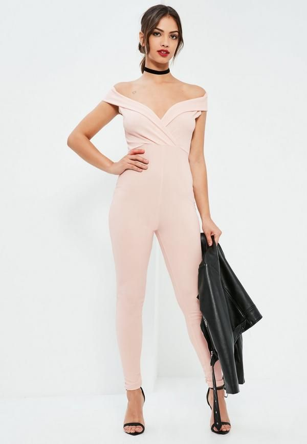 Make sure you stay on fleek this party season with this nude jumpsuit - featuring a Bardot top and wrap over deets.