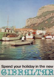 Vintage travel poster Gibraltar, a British Overseas Territory located near Spain