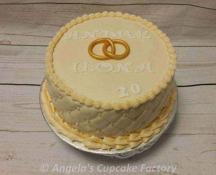 Jubileumstaartje voor 20-jarig huwelijk. 20th Wedding Anniversary cake