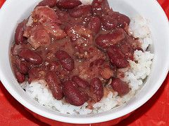 Popeye's red beans and rice copy cat recipe!!!!!  I LOVE Popeye's! I made this tonight. I subbed olive oil and butter for the fat and didn't use a ham hock. It was sooooo good!! I also fubbed the spices a little bit. Its all about the food processor!