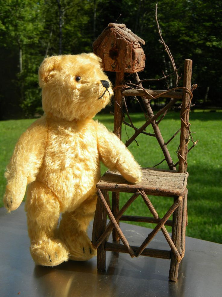 VINTAGE STEIFF ORIGINAL TEDDY BEAR GOLDEN MOHAIR JOINTED FELT PAWS BACK HUMP 9''