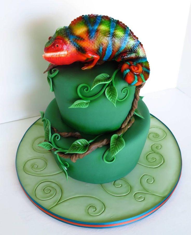 Rainbow Gecko cake by Cake Nouveau
