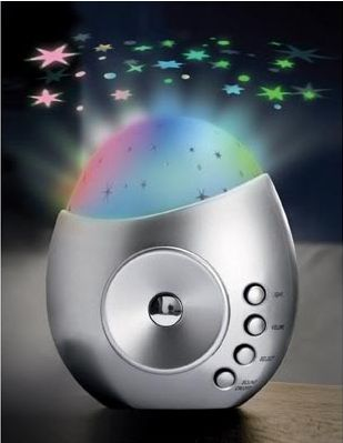 Kids gifts online - Galaxy Star Projector & Sound Machine - $24.95 - Turns your little ones room into a galaxy of twinkling stars while playing beautiful, soothing sounds of nature.  Perfect to help settle baby and toddlers.  Automatic power-save shuts music off after half an hour. Can also be used as an MP3 / PC speaker (Incl. 3.5mm cable).  Requires 3AA batteries (not incl.)  H. 11.5cm. Includes 7 soothing sounds. Kids gifts online - Galaxy #Christmas #stockingfiller