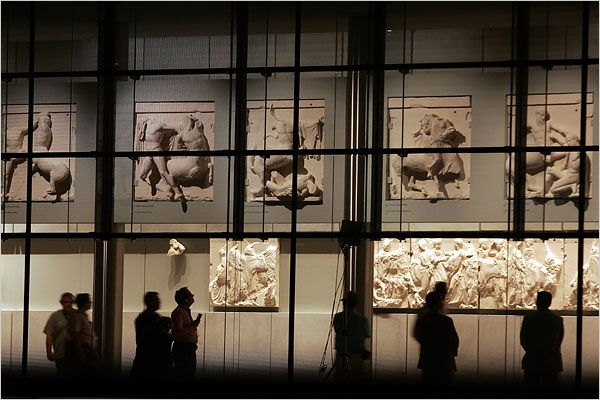 Final level of the new Acropolis museum. Parthenon room showing the metope and part of the frieze of Parthenon.