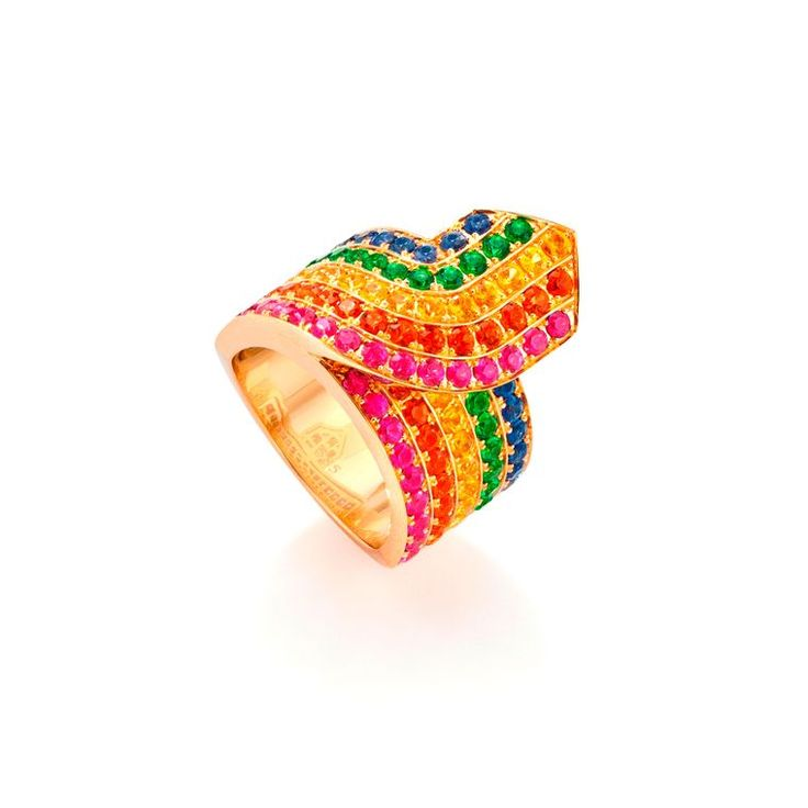 Robinson Pelham Rainbow Tron ring in yellow gold set with multicoloured sapphires and tsavorites. See more kaleidoscopic jewels: http://www.thejewelleryeditor.com/window-shopping/jewellery-for-her/robinson-pelham-rainbow-tron-multicoloured-sapphire-ring-yellow-gold/ #jewelry #chromatic