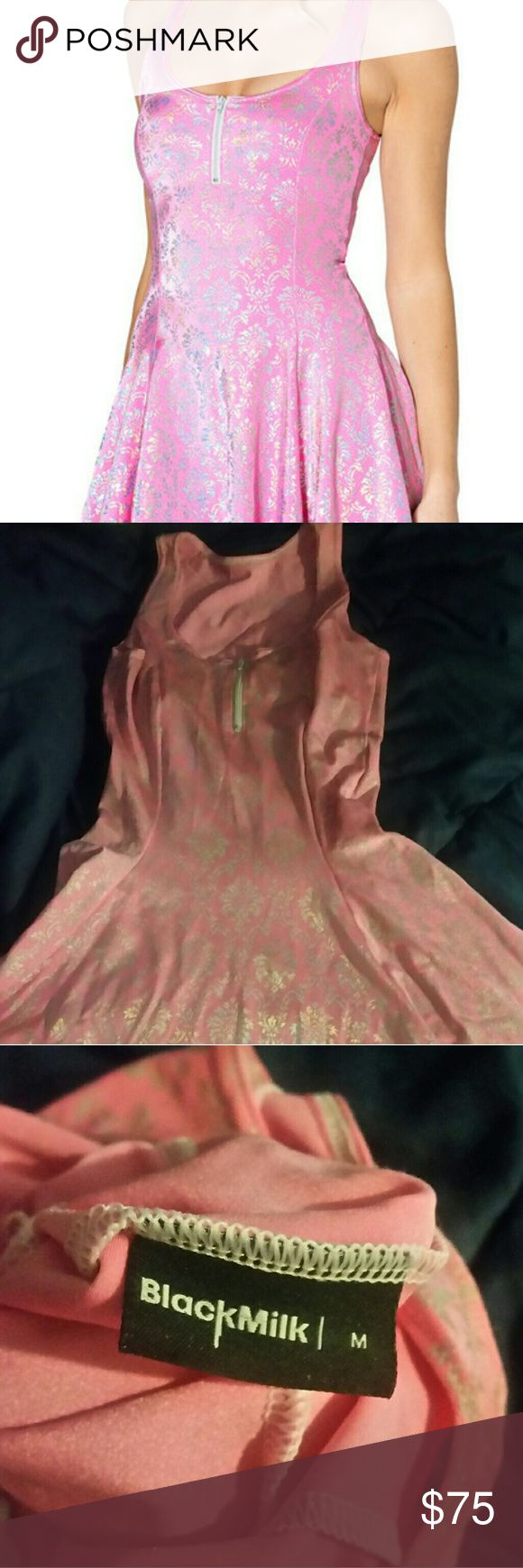 Black Milk Pink Wallpaper Zip Dress Super cute, but can be made a little sexy with the zipper down. Good condition. Make me an offer! Blackmilk Blackmilk Dresses Midi