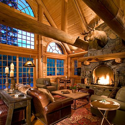 17 best images about dream log cabins on pinterest for Log living room