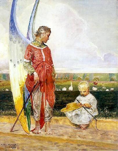 Znalezione obrazy dla zapytania jacek malczewski wiejski aniołi