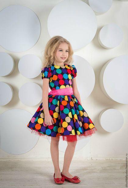 """Dress for girl / Одежда для девочек, ручной работы. Ярмарка Мастеров - ручная работа. Купить Платье """"Веселые горошки"""". Handmade. Комбинированный, одежда для детей"""