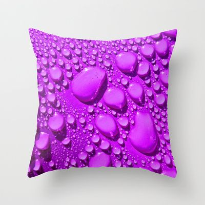 Water Drops Purple Throw Pillow by Alice Gosling - $20.00