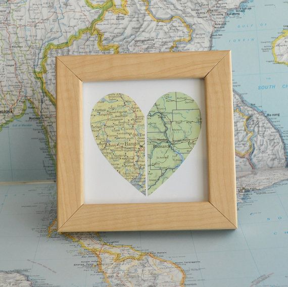 Sweet graduation gift! Framed Map Heart by ekra on Etsy