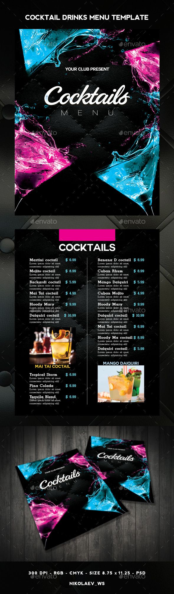 Cocktail Drinks Menu Template #design Download: http://graphicriver.net/item/cocktail-drinks-menu/11338520?ref=ksioks