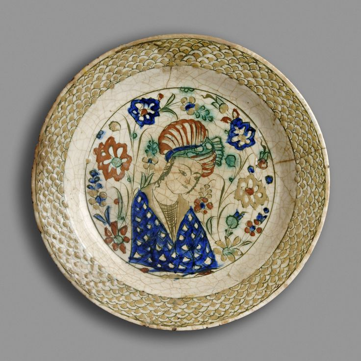 Dish Probably Tabriz, Iran About 1600 Fritware, underglaze-painted