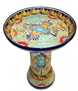 Vibrant Talavera Bird Bath [ MexicanConnexionforTile.com ] #design #Talavera #Mexican
