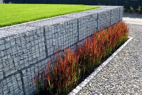 Gabions & grasses - I prefer the neatly stacked cut stone in these gabions over the jumble of rocks that you typically see.