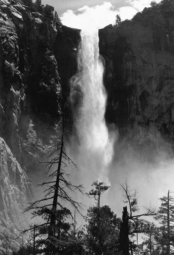 Ansel Adams :: Bridalveil Fall, Yosemite Valley (no date). Originally published in 1960 in a portfolio of 16 prints.