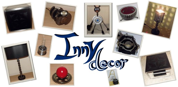 Innydecor creates modern design pieces, decorative candles and table lamps using car parts.