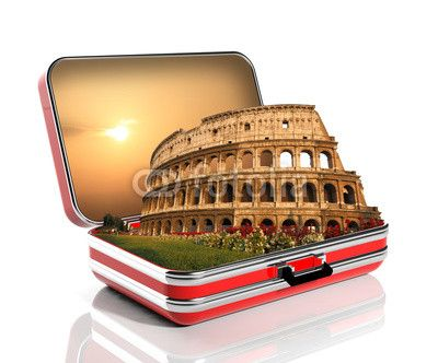 The Colosseum of Rome in a travel suitcase
