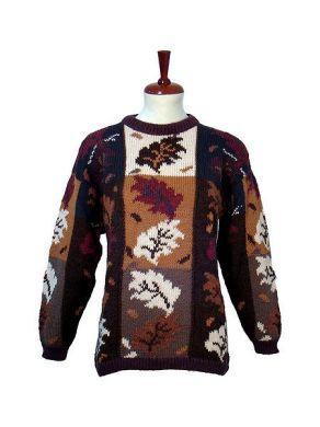 #Damen #Pullover mit #Herbstmotiven, pur #Alpakawolle