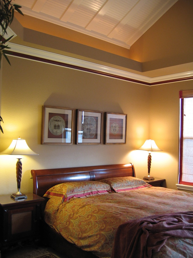 Master bedroom with lighted beadboard ceiling, Asian style, Grange sleigh bed