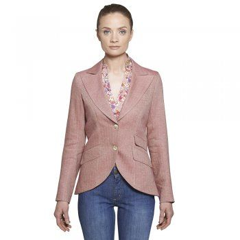 The Lily style jacket is a beautifully tailored jacket. Designed in Donegal, this elegant linen blend jacket is fully lined with peak lapels, 2 buttons, 2 colour melton under-collar,  slanted flap pockets and side vents. The style is cut away at the front which gives a wonderful slimming effect. Wear yours layered over a contrasting black outfit.